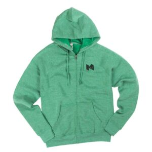 Independent Trading Co. Sea Green full-zip hoodie - decorated on the left chest.