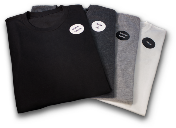 4 different fabric t-shirt sample pack